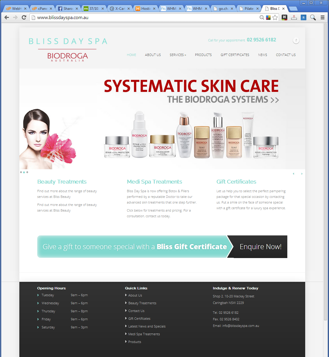 Wordpress Website Bliss Day Spa